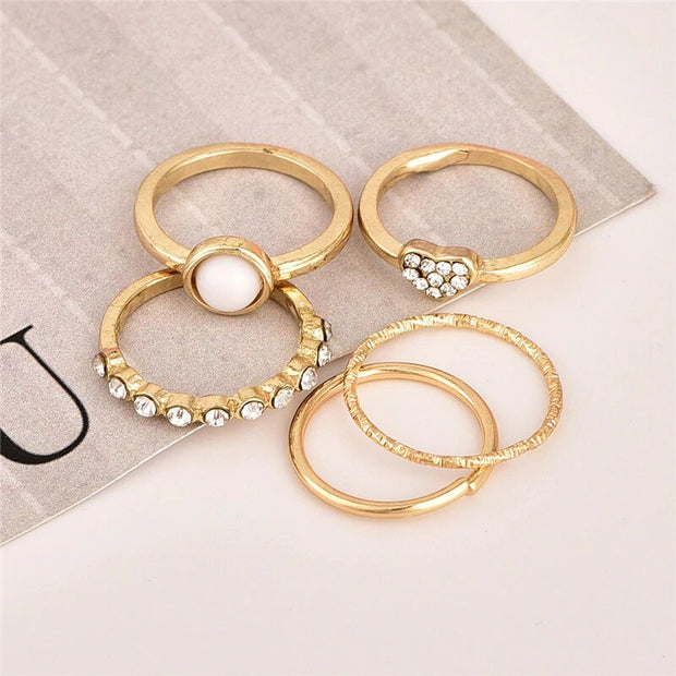 Set of 5 Avenue Heart & Pearl Rings-Avenue