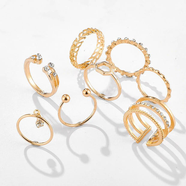 Set of 8 Avenue Boho Geometric Rings-Avenue
