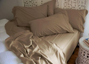Natural Bamboo Pillowcases - Coconut Shell Taupe Tan -