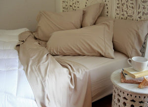 Natural Bamboo Pillowcases - Sand Castle Light Brown - Sand