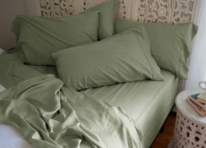 Natural Bamboo Pillowcases - Sea Foam Green - Natural Bamboo