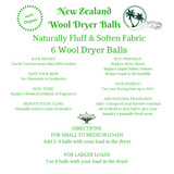 100% Wool Dryer Balls - 6 pack 100% New Zealand wool dryer balls shorten drying time, soften and fluff fabric, and reduce static.