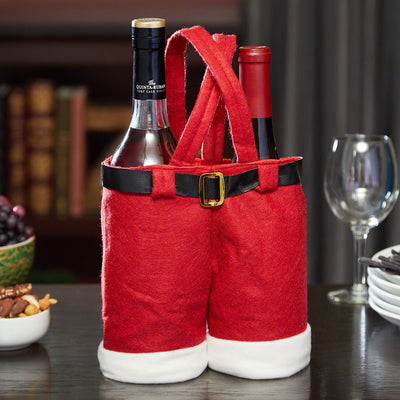 Santa Gift Pants Wine and Treats Bag