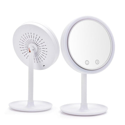 LED Makeup Mirror with Fan 10/5X Magnification