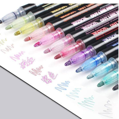 DoubleLiner - 12 Colors Metallic Outline Markers Set