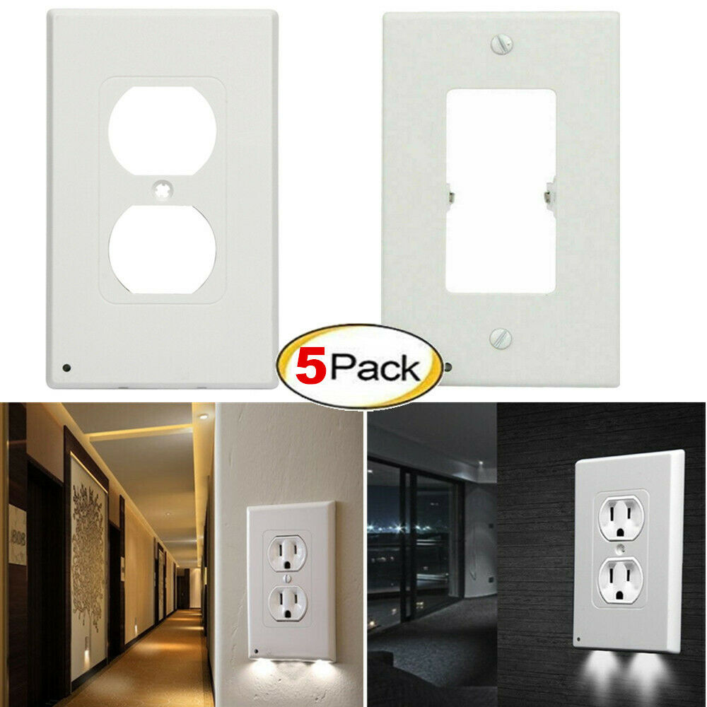 Set of 5 Outlet Wall Plate With LED Night Lights