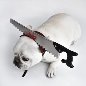 PEGOISM Chainsaw Headwear Pet Costume - For Dogs and Cats - Perfect for Halloween, Christmas, Cosplay and Fancy Dress Parties