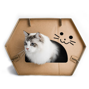PEGOISM Cat House Scratcher Post Condo Cave with Catnip - Made of Recyclable Cardboard - 20.4x14.1x14.9 inches
