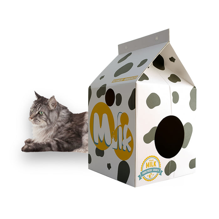 •	PEGOISM Cat Scratcher – Milky House Design – Made from Recyclable Durable Corrugated Cardboard – Free Catnip Included for Scratching – Promotes Good Paw Health