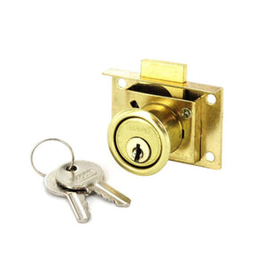 Drawer Lock 2 Keyed Brassed 63mm