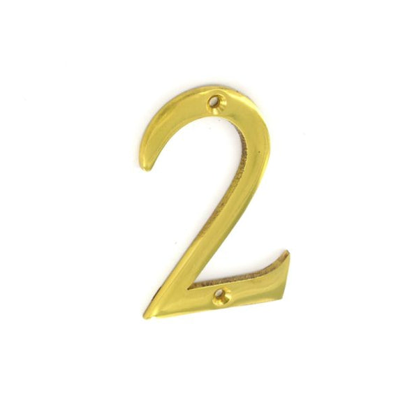 No.2 Numeral 75mm Brass/Chrome