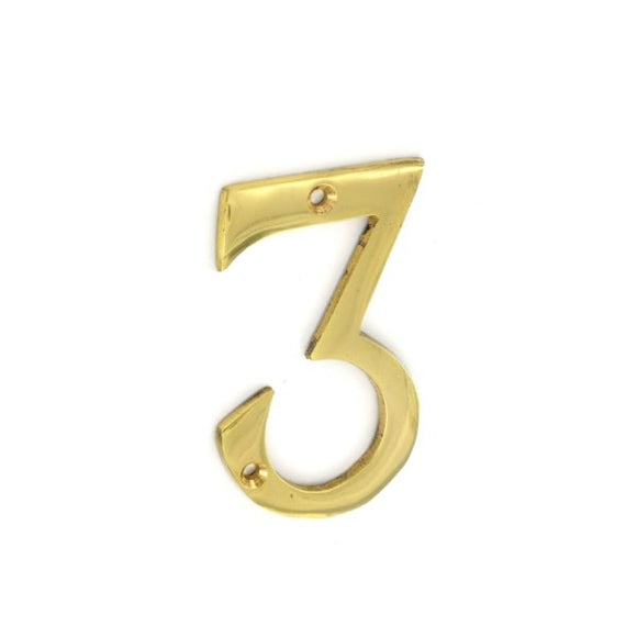 No.3 Numeral 75mm Brass/Chrome