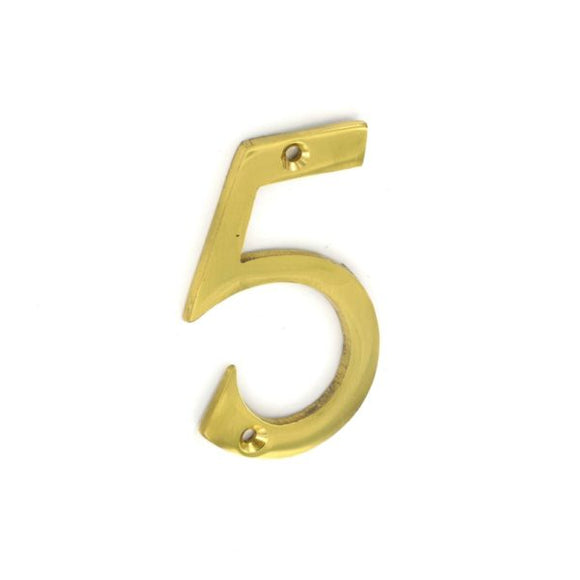 No.5 Numeral 75mm Brass/Chrome