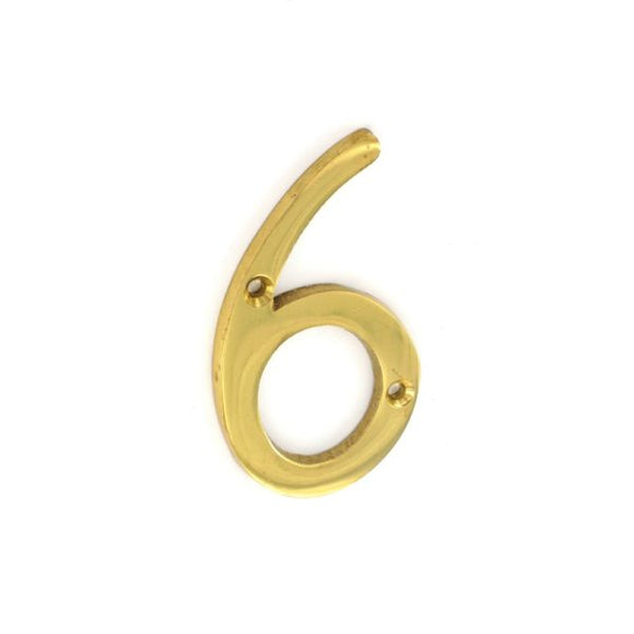 No.6 Numeral 75mm Brass/Chrome