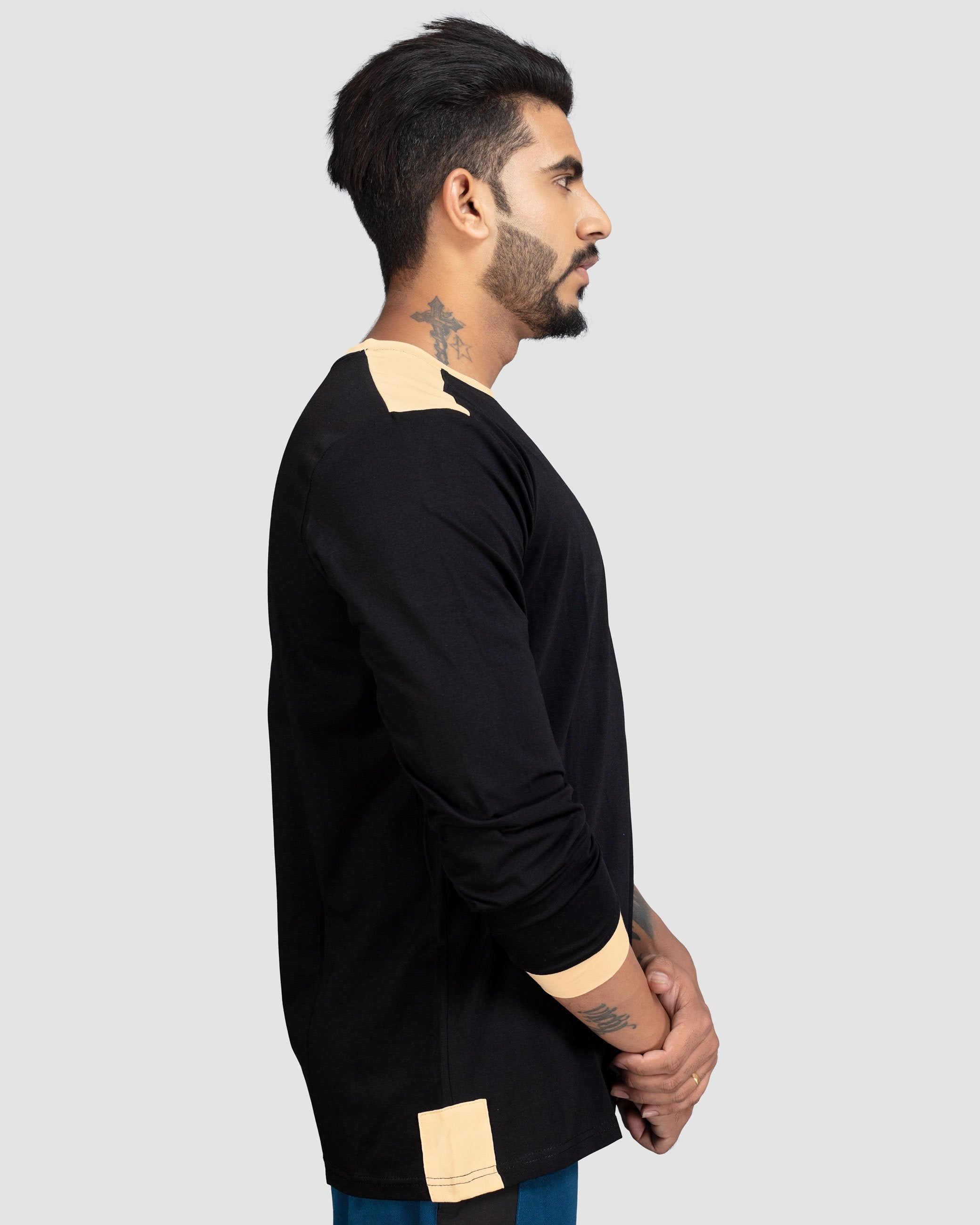 Flex Inspire ringer t-shirt(Charcoal Black With Skin patch) Athflex