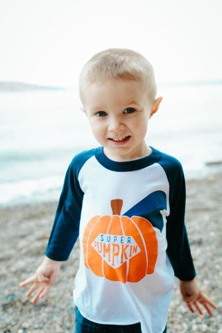 """Super Pumpkin"" INFANT/KIDS RAGLAN"