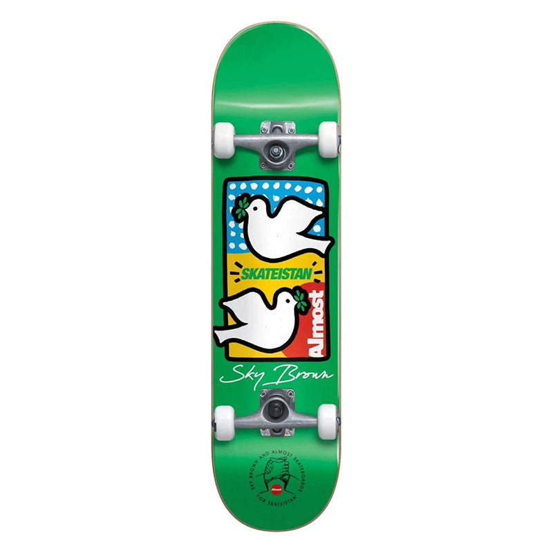 "Almost Sky Brown Double Doves Skateisan 7.5"" Complete Skateboard"