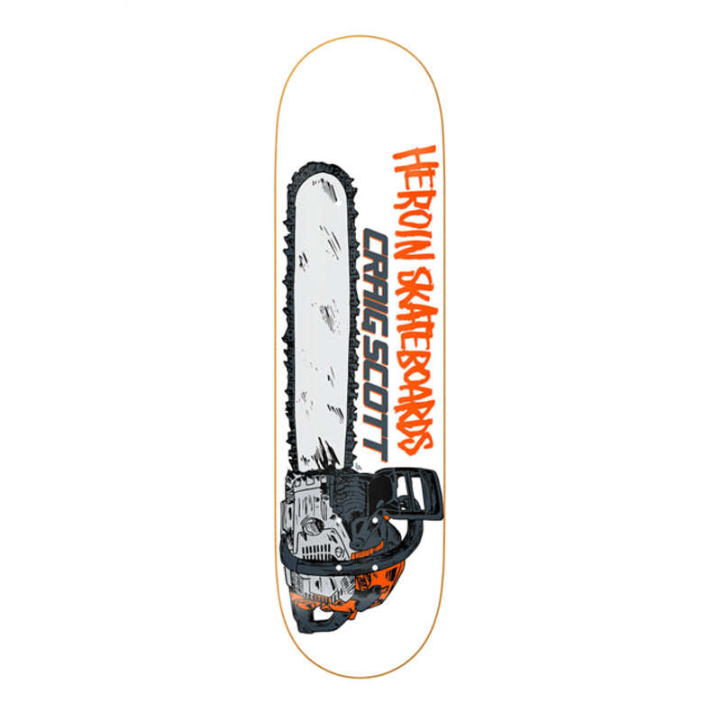 "Heroin Skateboards Craig Questions Chainsaw 8.75"" Deck"