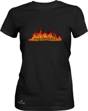 Unstoppable - Jogernot logo on fire - Women short sleeve tee