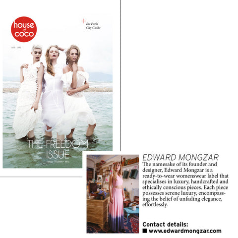 Edward Mongzar House of Coco Magazine Press Ethical Sustainable London Independent Designer