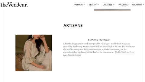 Edward Mongzar The Vendeur Press Ethical Sustainable Independent Designer
