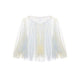 Hand Marbled Tulle Raw Edge Top - Yellow & Blue