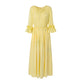 Hand Marbled Silk Satin Gather Dress in Yellow