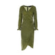 Hand Dyed Silk Velvet Wrap Dress - Green
