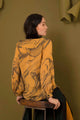 Hand Marble Dyed Silk Shirt - Orange & Black
