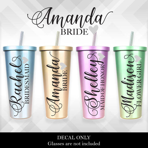 Bridal and Wedding Party Glass Tumbler Decal - Vinyl Sticker - Heart | Amber Rockstar