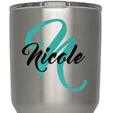 Name, Initial Custom Monogram Decal - GLITTER Available - For Yeti, RTIC, Stainless Steel Insulated Tumblers