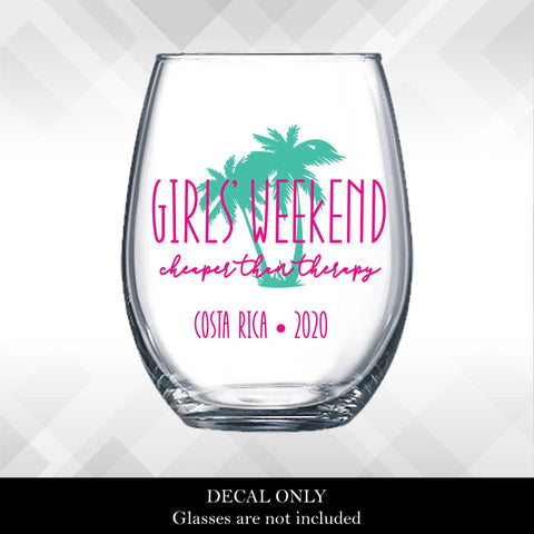 Girls'  Weekend - Cheaper than Therapy Custom Decal - Tropical Palm Tree | Amber Rockstar