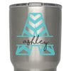GLITTER Chevron Initial Name Custom Monogram Decal - For Yeti, RTIC, Stainless Steel Insulated Tumblers