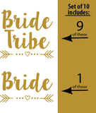 SET OF 10 - 1 Bride and 9 Bride Tribe | Amber Rockstar