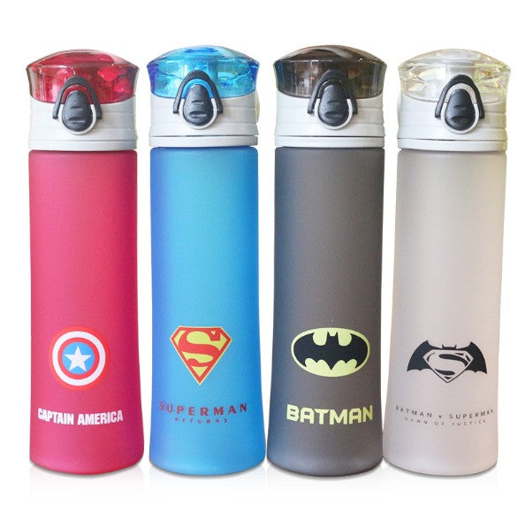Hot Sales Heros Water Bottle 450ml Cartoon Scrub Sports Space Fruit Juice Plastic My Water Bottles BPA Free