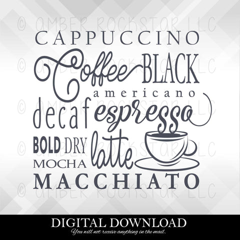 DIGITAL DOWNLOAD: Coffee Collage | SVG file