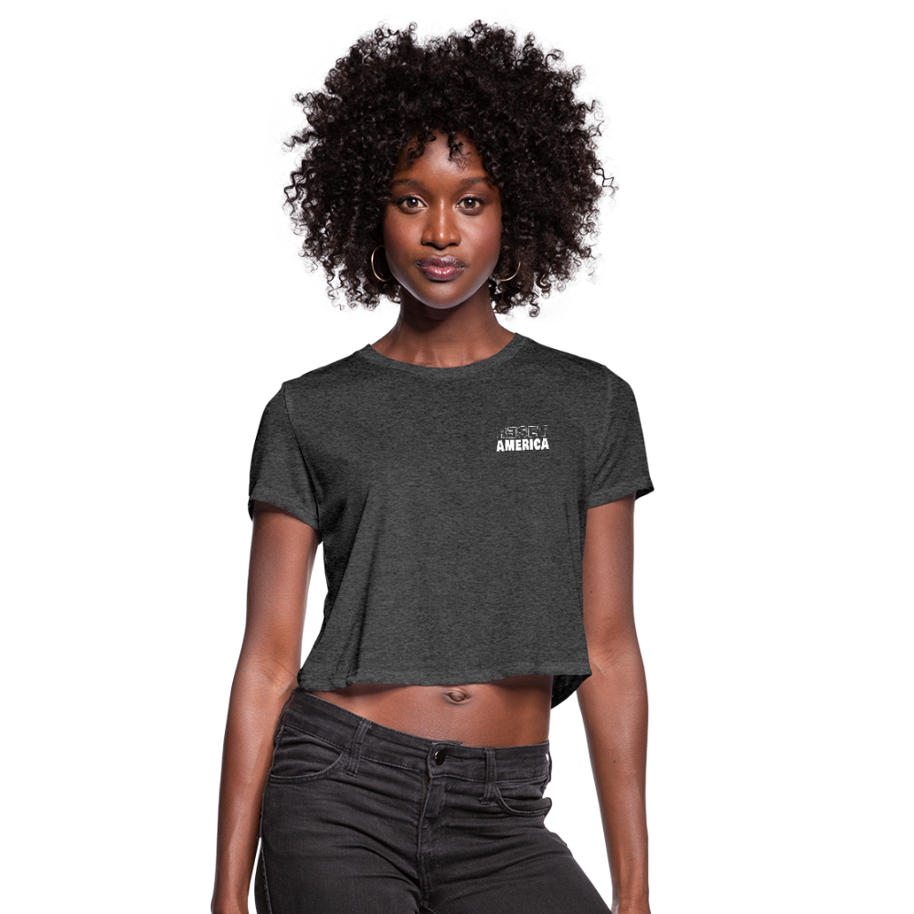 Reset America Crop Tee - deep heather