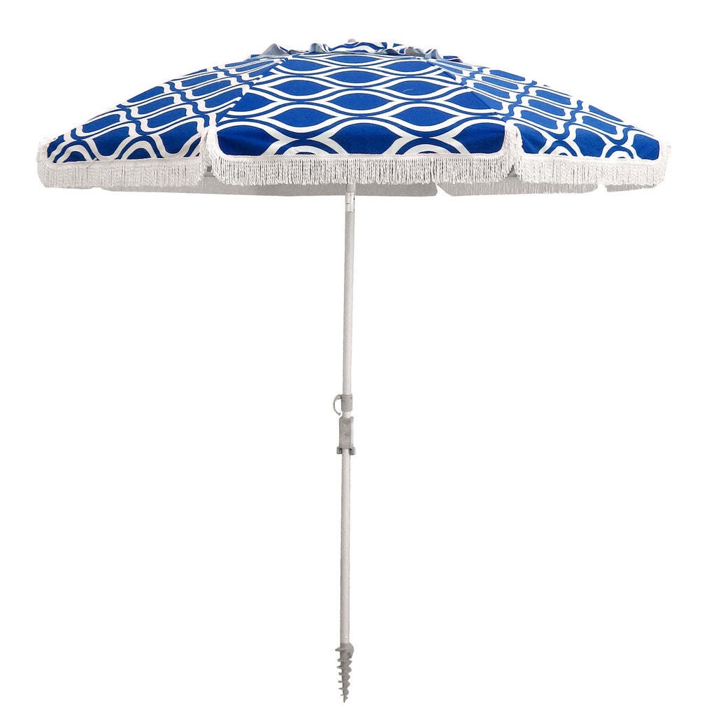 Hollie And Harrie 210cm Fringe Beach Umbrella Moroccan Blue