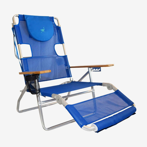 Beachkit Ostrich 3 In 1 Aluminium Beach Lounger Blue