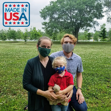 Family Wearing Face Masks Made In USA
