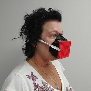 Woman Wearing Black Red 3D Mask Angled View