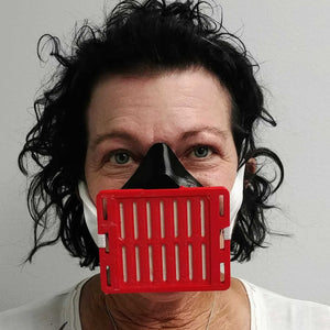Woman Wearing Black Red 3D Mask Front View