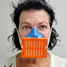 Load image into Gallery viewer, Woman Wearing Blue Orange 3D Mask Front View
