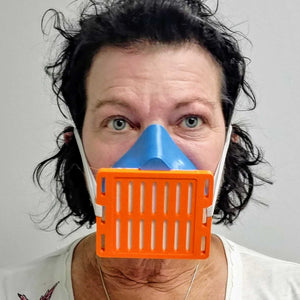 Woman Wearing Blue Orange 3D Mask Front View