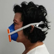 Load image into Gallery viewer, Woman Wearing Blue Orange 3D Mask Side View