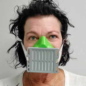 Woman Wearing Green Gray 3D Mask Front View