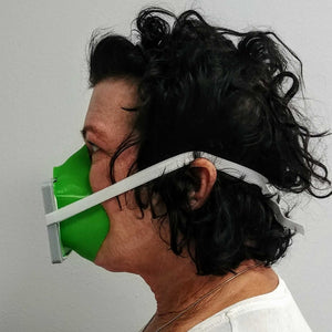 Woman Wearing Green Gray 3D Mask Side View
