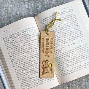 Books and dreams premium wooden engraved bookmark, Reader's collection