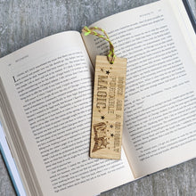 Load image into Gallery viewer, Books and magic premium wooden engraved bookmark, Reader's collection