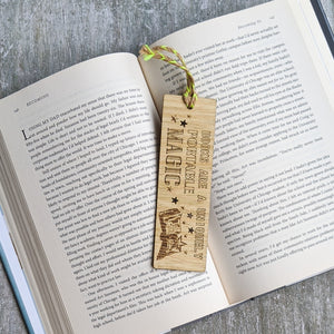 Books and magic premium wooden engraved bookmark, Reader's collection